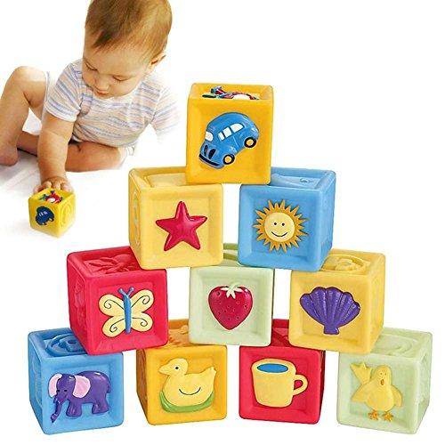 Wildlead 10 in 1 gesetzter neuer Kleinkind-Baby-Tuch Weiche Rattle Bausteine Lernspielzeug Baby-Spielzeug Weich Blocks Set Cube