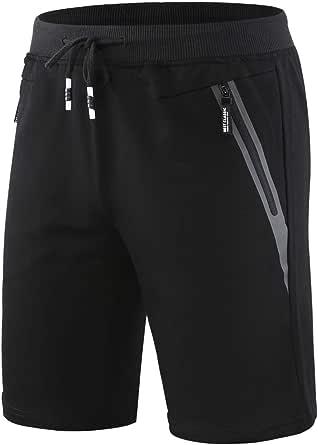 CLOUSPO Gym Shorts Mens Running Shorts Mens Sweat Shorts Casual Sports Joggers Shorts with Zipped Pocket Workout Training