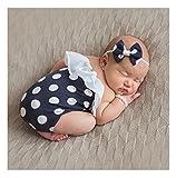 Mummyhug Baby Polka Dot Strampler Stirnband Perle Armband Set Neugeborenen Outfits Fotografie Requisiten Kostüm für 6-12 Monate [2018 neue Version] (Schwarz)
