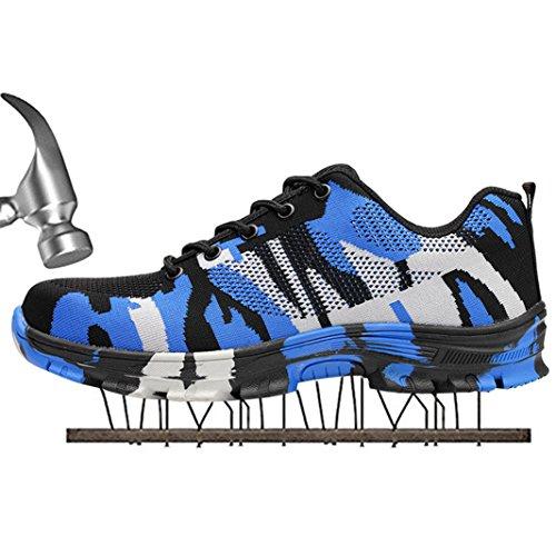 SUADEEX Damen Herren Sicherheitsschuhe Sportlich Trekking Wanderhalbschuhe Stahlkappe Arbeitsschuhe Hiking Schuhe Traillaufschuhe, Blau, 35 EU