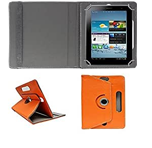 ECellStreet 360° Degree Rotating Flip Case Cover Diary Folio Case With Stand For Vox V102Calling Tablet - Orange