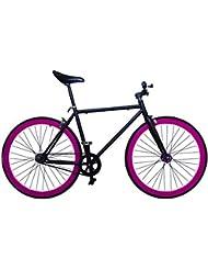 """Wizard Industry Helliot Soho 5310 - Bicicleta fixie, cuadro de acero, frenos V-Brake, horquilla acero y ruedas de 26"""", color negro y violeta"""