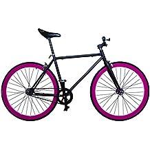 """Fixie Helliot Tribeca H21 - Bicicleta fixie, cuadro de acero, frenos V-Brake, horquilla acero y ruedas de 26"""", color negro y violeta"""