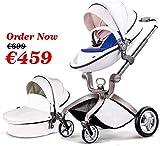 Hot Mom Kombikinderwagen mit Buggyaufsatz und Babywanne 2020, Kinderwagen 3 in 1Funktion, Babyschale extra Kaufbar - weiß