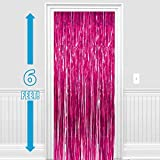 #4: PARTY PROPZ ™ Set of 2 Metallic Pink Foil Curtain Fringe Party Decoration Door Curtains, 3 x 6 Feet