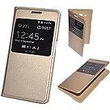 Housse Etui Coque Flip Cover View Cache Batterie Doré Gold pour Samsung GALAXY J7 2016