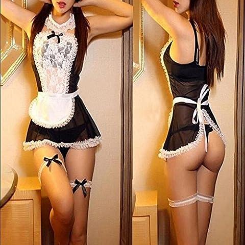 Vale® las mujeres del cordón de la ropa interior de Cosplay del uniforme francés de limpieza traje de la ropa interior atractiva fijó el vestido de lujo
