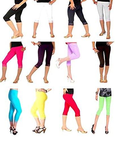 Elegance Mesdames culture avec dentelle détails 3/4 coton Leggings qualité (ref:2191-laced) Brun(brown)