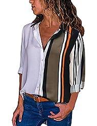 Camisa Mujer,Blusas Estampado Rayas Camiseta Suelto Transpirable Shirt La Solapa Tops Manga Larga Camisola Oficina Pantalones Falda Abrigo Traje baño Primavera Verano Marlene1988