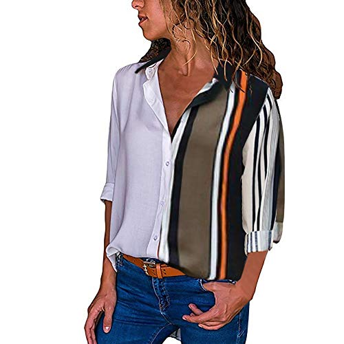 MRULIC Damen Shirt Tie-Bow Neck Striped Langarm Spleiß Bluse Gestreift Damen Tragen(V2-Mehrfarbig,EU-42/CN-XL)