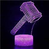 3D Optisches Nachtlicht Nachttischlampe Für Kinder LED Tischleuchte Dekoratives Licht 7 Farben Andern Touch Switch Acryl USB Crack Basis Holzhammer