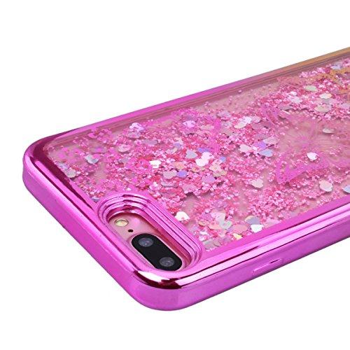 GrandEver iPhone 7 Plus Glitzer Hülle Weiche Silikon Handyhülle Gel Bling TPU Bumper Liquid Fließen Flüssigkeit und Electroplate Schutzhülle für iPhone 7 Plus Rückschale Klar Handytasche Anti-Kratzer  Schmetterling