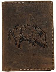 Akah Étui pour permis de chasse avec 6compartiments, Motif sanglier ou cerf