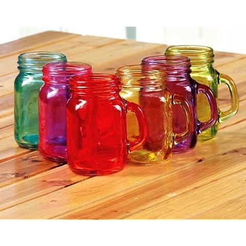 Corte del país (6) vaso - Mason Jar-asstd colores-5 onza-mofun-en caja de regalo
