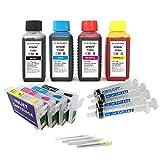 Kit de recarga para cartuchos de tinta Epson T1281-T1284 negro y color + cartuchos recargables y accesorios