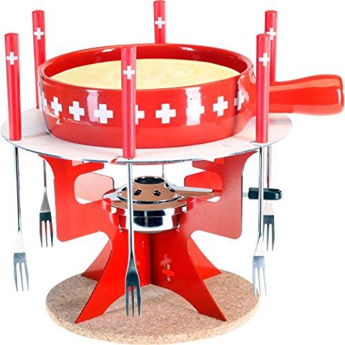 Käsefondue-Set \'Fondue Bar Schweiz\' von Nouvel Schweiz - 10 Teiliges Set, 6 Personen, Schweiz Design, für einen gemütlichen Fondue-Abend