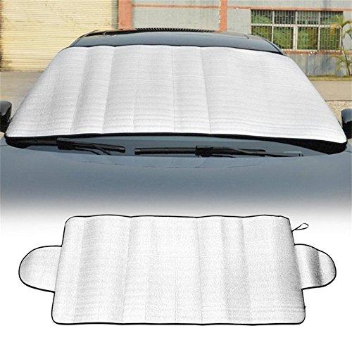 Swiftswan Auto Windschutzscheibe Abdeckung Anti-Schatten Frost Eis Schnee Schutz UV verblassende Auto Abdeckung (Farbe: Silber)