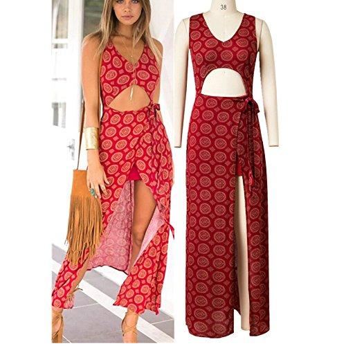 YLSZ-Dress Western Style Sleeveless V-Neck Waist Stamp Short Skirts Women, Red S Red L