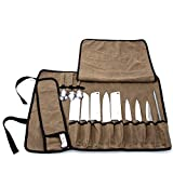 HANSHI Chef's Knife Roll, Waxed Canvas Knife Roll Bag, Versatile Cooking Tools Storage Cases, Home Kitchen Cutlery Knives Holders, Portable Knife Carrier With 13 Pockets+Shoulder Strap HGJ370-A