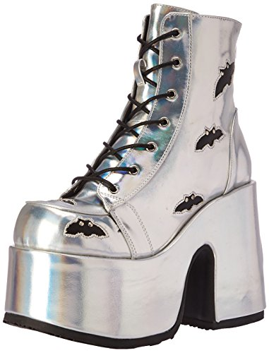 Demonia CAMEL-201 Slv Hologram-Blk Vegan Leather