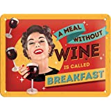 Nostalgic-Art 26166 Say it 50's A Meal Without Wine, Blechschild, 15 x 20 cm