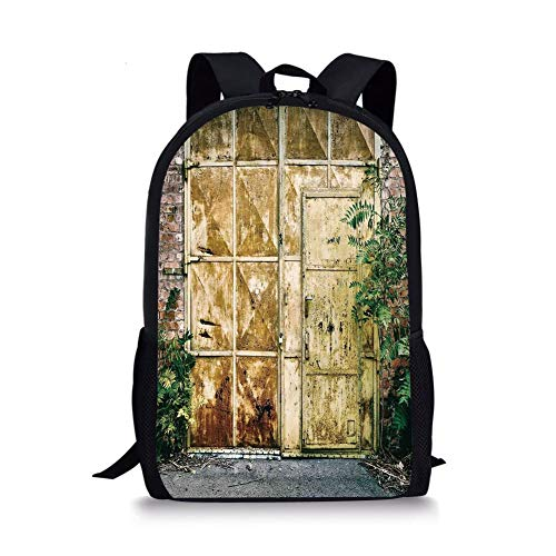 School Bags Industrial,Rustic Brick House Still Door with Moss and Dirt Urban Garage Outdoor Image,Green Yellow for Boys&Girls Mens Sport Daypack -