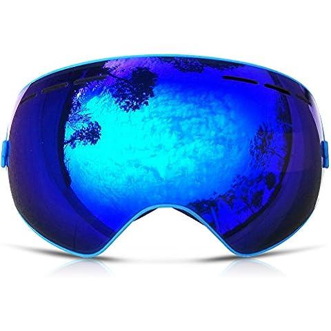 ZIONOR Lagopus X Motos de Nieve Snowboard Skate Gafas de esquí con Desmontable Lens y Lente Gran Angular Antiniebla Gran Esférico Profesional Unisex Multicolor