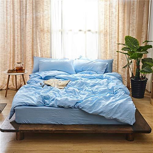 UOUL Bettwäscheset Aus Gewaschener Baumwolle Verblasst Nicht Solide Blau Komfort Schlafzimmer Einfache, Schlichte Junge Männer Und Frauen Twin 5ft Bed,Sky Blue,5Ft Bed - Männer Bettbezug Twin