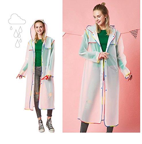JDRAIN Femme Homme Portable légère EVA Raincoat poncho cape randonnée en plein air Voyage vestes de pluie imperméable Manteaux Blanc