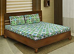 Bombay Dyeing double bedsheet with 2 pillow covers-Cardinal-Green