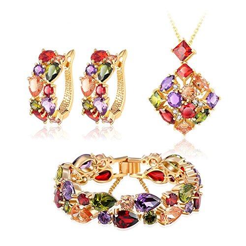 AnaZoz Schmuckset für Damen Ohrringe Armband Halskette mit Anhänger Blume, 18k Gold Vergoldet Zirkonia Verlobungsschmuck mit Geschenkbox
