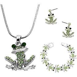 Lola Bella Gifts las Mujeres Pendientes de Cristal Colgante de Collar de la Rana Verde de la Pulsera con Caja de Regalo