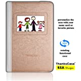 Samsung Galaxy Tab A 8.0 Case,Thankscase Rotating Case with Business Card Holder for Personalization or Company Logo,with Wallet Pocket and Hand Strap Case for Galaxy Tab A 8.0 2015.(Golden Curve)