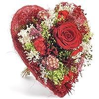 Bouquet corazòn -Sanremo secas flores de la Riviera dei Fiori Italiacon una rosa estabilizada ... (Rojo)
