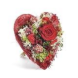 Bouquet-Cœur- Sanremo fleurs séchées de la Riviera dei Fiori avec trois roses stabilisées (Rouge)