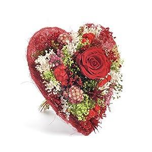 Bouquet corazòn -Sanremo secas flores de la Riviera dei Fiori Italiacon una rosa estabilizada (Rojo)