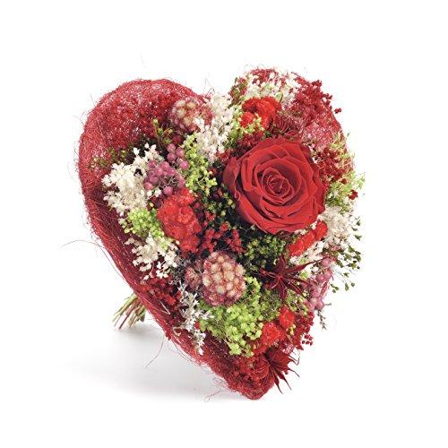 Bouquet Cuore (Rosso) Sanremo fiori essiccati dalla Riviera dei Fiori con rosa stabilizzata