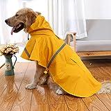 """New giacca cane per cane pioggia cappotto tempo libero pet vestiti del cane impermeabile grande waterprooff antivento riflettente cani di grossa taglia teddy vestiti del cane (Yellow, XL(24""""))"""