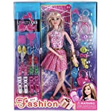 Doll House for Girls / Tiara Barbie Doll Set Pink Slippers Doll , 8 Sets of Fashion Accessories/ Hair dryers/Hair Accessories
