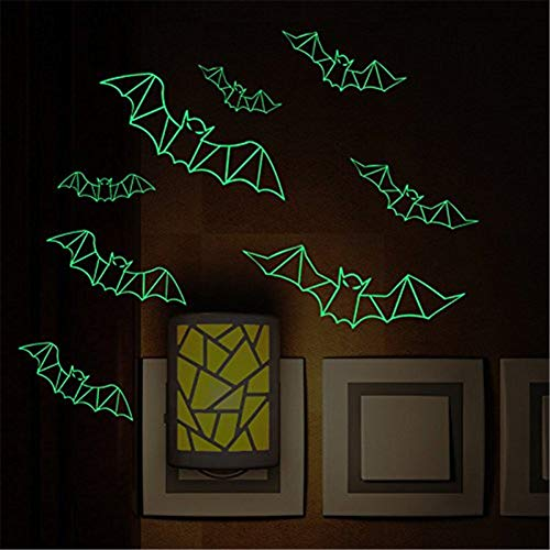 WESEEDOO Glowing Wandaufkleber Dreidimensional Abnehmbarer Wandaufkleber Fluoreszierender Wandtattoo DIY-Dekor 3D Fledermaus Aus Kunststoff DIY-Dekor