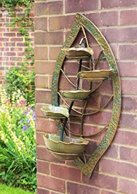 Small Solar Powered Water Feature Wall Mounted Leaf Design PC251