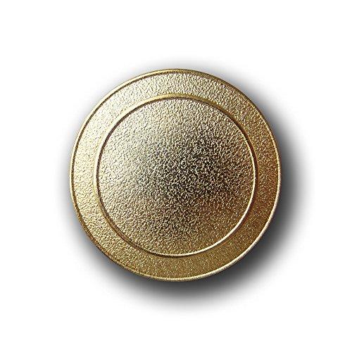 Knopfparadies - 6er Set schlichte strukturierte Ösen Metall Knöpfe mit zwei kreisförmigen Zier-Rillen / matt goldfarben / Metallknöpfe / Ø ca. (Gold Rille Kostüme)
