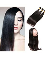 SilkyLong 360 lace frontal closure Brazilian straight plus 3 bundles straight weave hair natural free part Bleached...