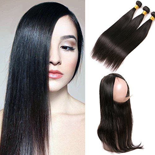 SilkyLong 360 lace frontal closure Brazilian straight plus 3 bundles straight weave hair natural free part Bleached Knots with baby hair 18 20 22+16(360)