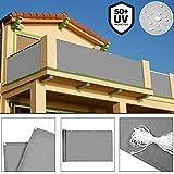 Deuba Windschutz 5m   UV-Schutz 50+   Wasserabweisend   Sichtschutz Balkonbespannung Balkonumspannung Balkonsichtschutz   Einfache Montage   Waschbar   500cm x 90 cm Betonoptik