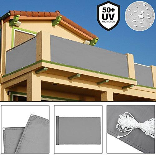 Deuba® Windschutz 5m | UV-Schutz 50+ | wasserabweisend | Sichtschutz Balkonbespannung Balkonumspannung Balkonsichtschutz | einfache Montage | waschbar | 500cm x 90 cm Betonoptik
