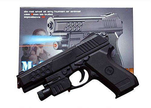 BabyGo AIR SPORTS LASER GUN RED LASER WITH 6MM Bullets with Extra 52 Normal bullets + 150 Soft Non Harming Bullets and Laser