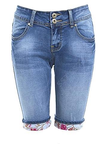 SS7 Women's Denim Knee Shorts, Sizes 6 to 14 (UK - 14, Denim Blue)
