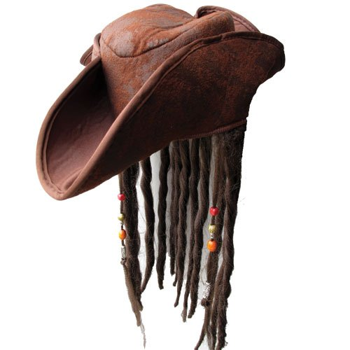 Dress Pirate Fancy Kostüm - Caribbean Jack Sparrow Fancy Dress Pirate Hat With Hair & Beads