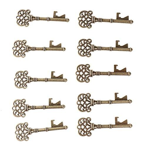 Preisvergleich Produktbild Baoblaze 10er Pack Schlüsseform Flaschenöffner KeyRing Öffner Strass Crystal Schlüsselanhänger - Kupfer
